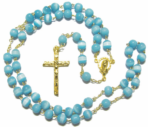 Cat's Eye Rosary,  Aqua Blue with Gold Plate - RB50