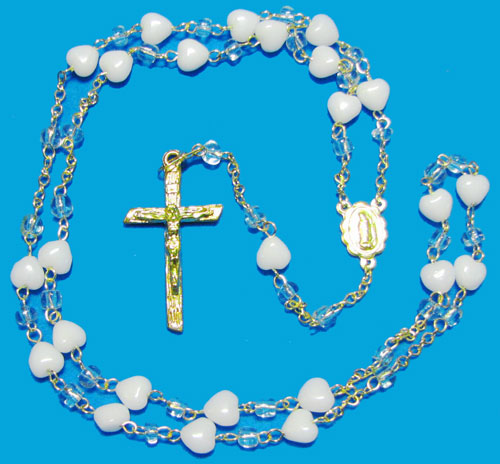 Glass Rosary with Heart and Crystal Beads - RW4