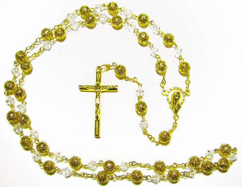 Gold Rosary with Filigree and Crystal Beads - RG2