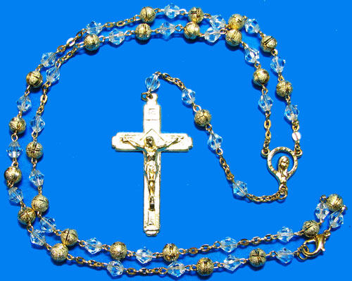 Gold Rosary with Gold and Crystal beads