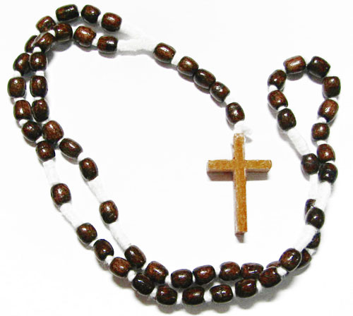 Wood Men's Rosary Necklaces with Dark Brown Beads
