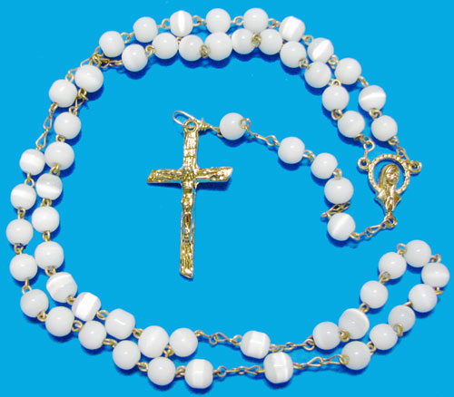 Cat's Eye Rosary, White, Silver Plated