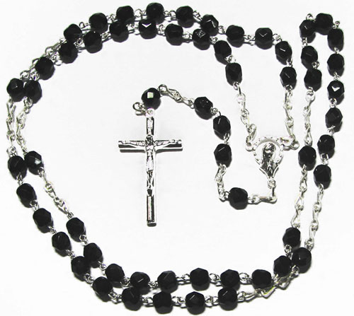 Fire Polished Jet Rosary, Silver Plated - RB3