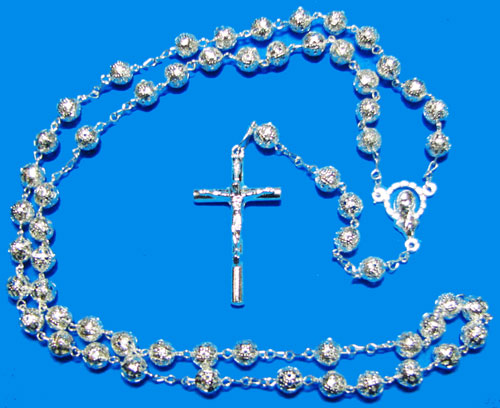 Silver Rosary with Silver Filigree Beads - RS2